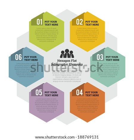 Vector illustration of hexagon flat infographic element. - stock vector