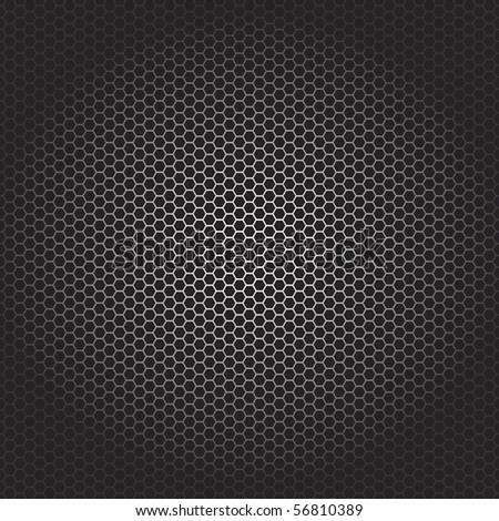 Vector illustration of hexagonal pattern on black