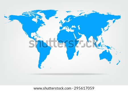 Vector illustration of high detail light blue colour world map. - stock vector