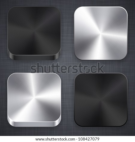 Vector illustration of high-detailed apps metal icon set. - stock vector