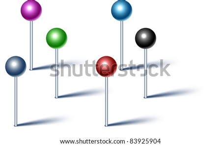 Vector illustration of high-detailed pins. - stock vector
