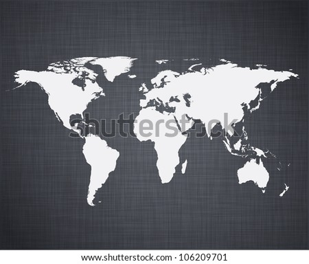 Vector illustration of high-detailed world map over linen texture. - stock vector