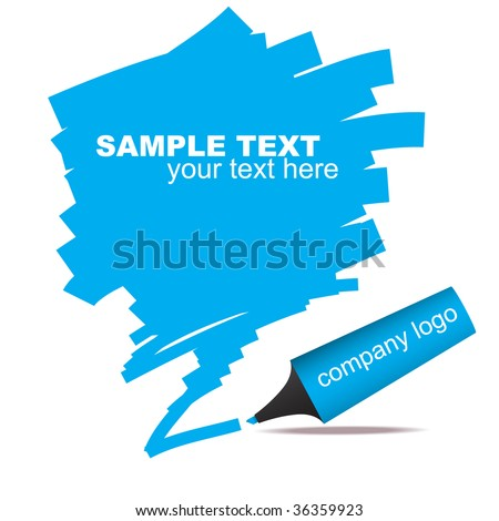 Vector - Illustration of highlighter felt pen with scribble in grunge effect - stock vector