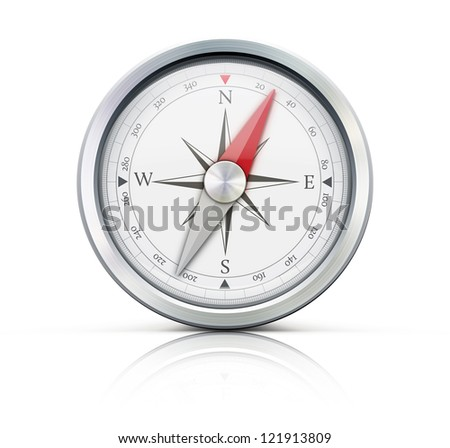 Vector illustration of highly detailed compass isolated on a white background. - stock vector