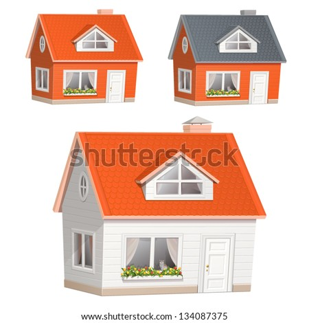 Vector illustration of highly detailed house icon - stock vector