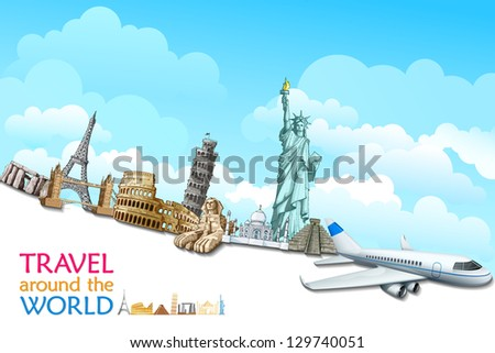vector illustration of historical monument with airplane - stock vector