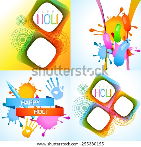vector illustration of holi background with pichkari, balloon and colorful hand - stock vector