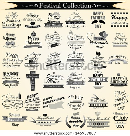 vector illustration of holiday and festival calligraphy - stock vector