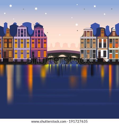 Vector illustration of holland landscape - stock vector