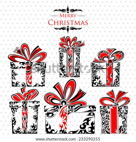vector illustration of Holy Christmas Tattoo Style Gift Pack - stock vector