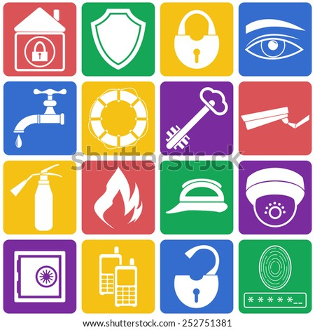 Vector illustration of home security icons. Color flat set - stock vector