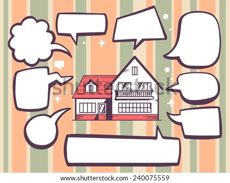 Vector illustration of home with speech comics bubbles on color pattern background. Line art design for web, site, advertising, banner, poster, board and print. - stock vector