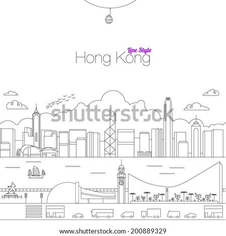 Vector illustration of Hong Kong Line Style - stock vector