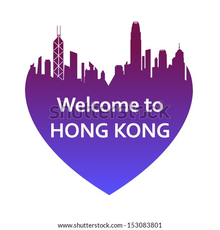 Vector illustration of Hong Kong skyline in heart shape. Welcome to Hong Kong