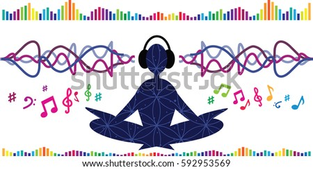 Brain or sound wave wave stock images royalty free images vector illustration of horizontal banner with meditating person and sound waves for binaural beat concepts sciox Gallery