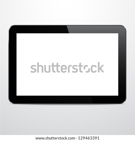 Vector illustration of horizontal black modern realistic tablet pad with empty white screen. Eps10. - stock vector