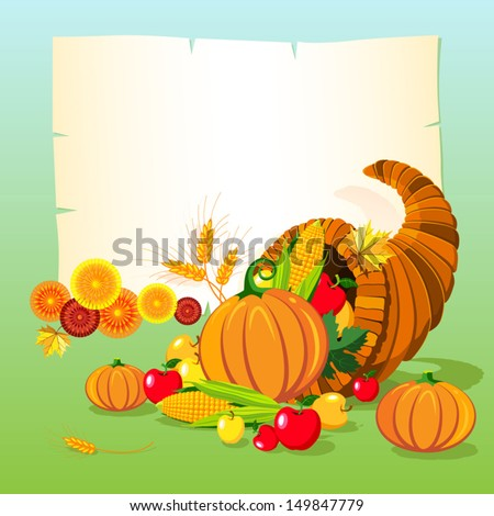 Vector illustration of horn of plenty. Thanksgiving day background.  - stock vector