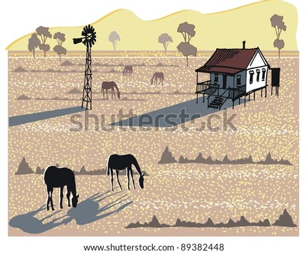 Vector illustration of horses and windmill in Australian outback - stock vector