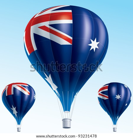 Vector illustration of hot air balloons painted as Australia flag - stock vector