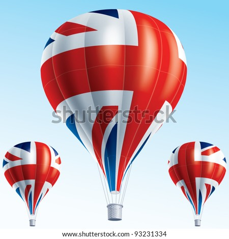 Vector illustration of hot air balloons painted as Great Britain flag - stock vector