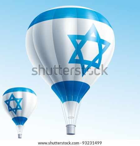 Vector illustration of hot air balloons painted as Israel flag - stock vector