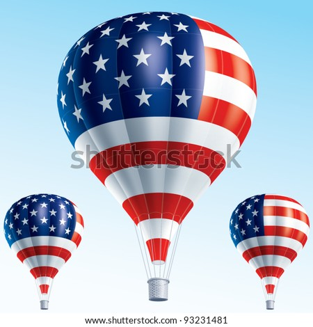 Vector illustration of hot air balloons painted as Usa flag - stock vector