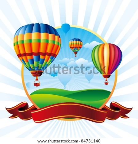 vector illustration of hot air balloons take flight - stock vector