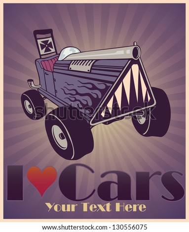 Vector illustration of hot rod car with flames and I love cars sign - stock vector