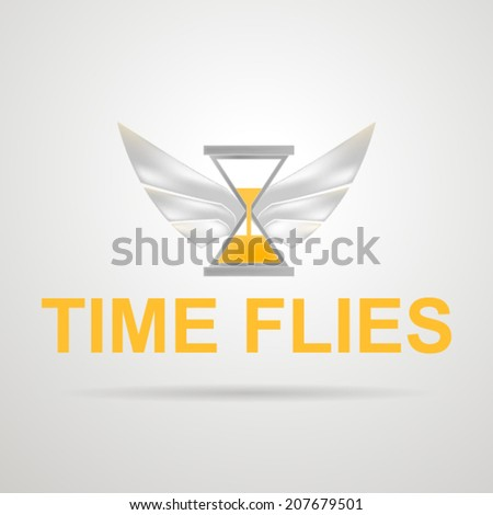 Vector illustration of hourglass with wings. Time flies. Concept of time spending. Hourglass with yellow sand and silver wings. Isolated vector illustration on gray. - stock vector