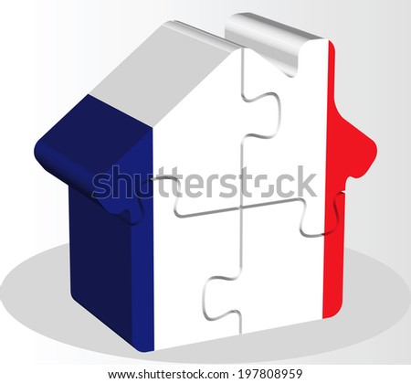 Vector illustration of house home icon with French flag in puzzle isolated on white background
