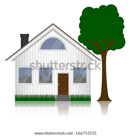 Vector illustration of house icon isolated on white background  - stock vector