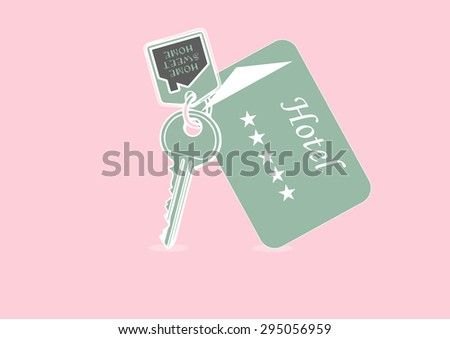 Vector illustration of house key and hotel card - stock vector