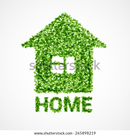 "Vector illustration of house made with little green leaves with inscription ""home"" below - stock vector"