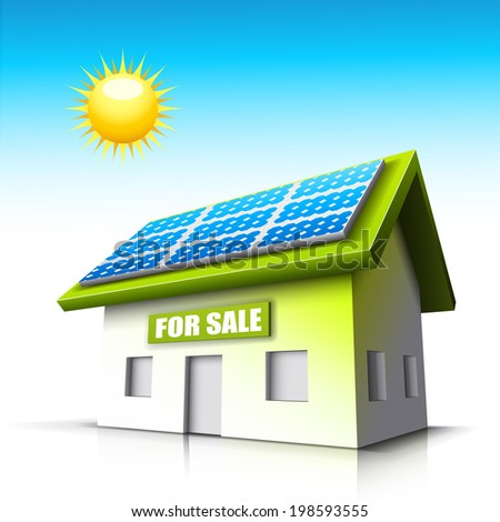 Vector illustration of house with solar panel.