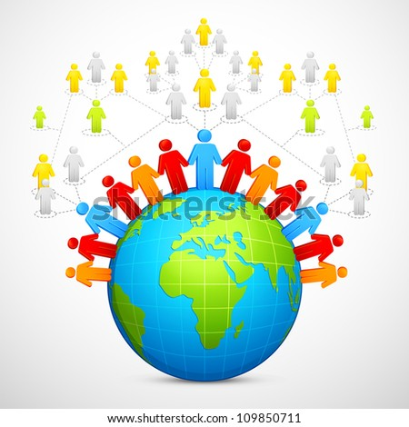 vector illustration of human around globe showing social networking - stock vector