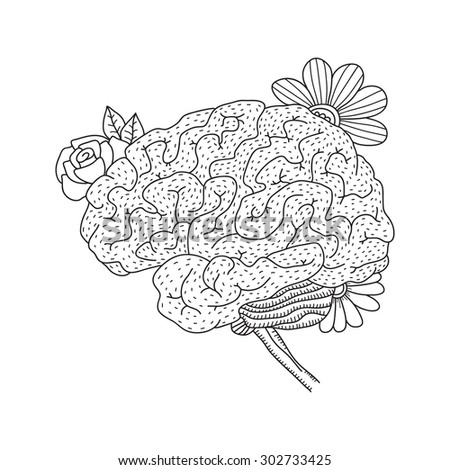 Vector illustration of human brain isolated on white background for medical design or idea of logo - stock vector