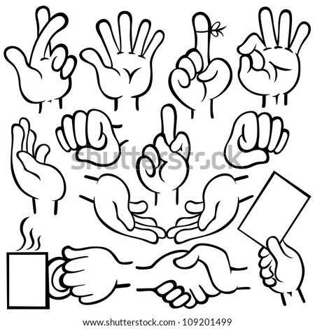 Vector illustration of human hands in different poses. - stock vector