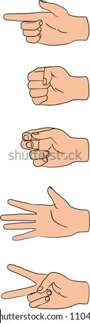 vector illustration of human hands in various poses - stock vector
