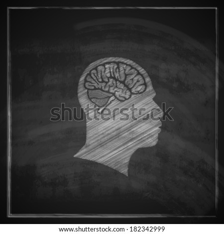 vector illustration of human head with brain on blackboard background - stock vector