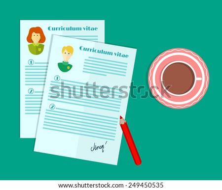 vector illustration of human resources, the choice of candidate for the job, curriculum vitae stack - stock vector
