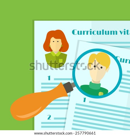 vector illustration of human resources the choice of candidate for the job curriculum vitae stack - stock vector