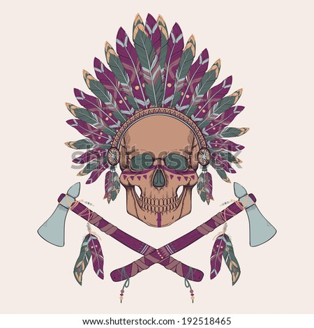 Vector illustration of human skull in native american indian chief headdress, tomahawks - stock vector