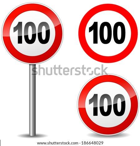 Vector illustration of hundred sign on white background - stock vector