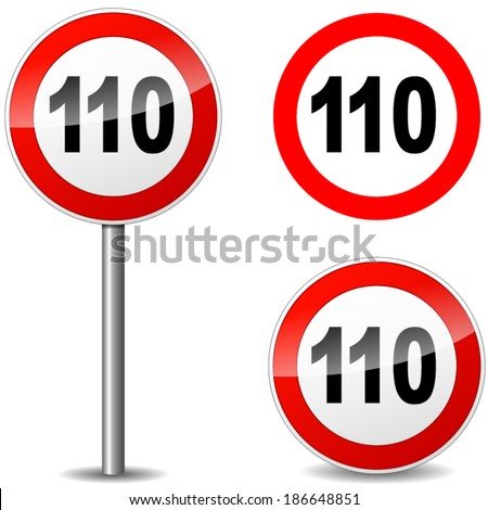 Vector illustration of hundred ten sign on white background - stock vector