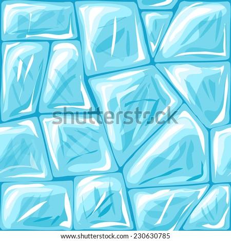 Vector illustration of ice brick seamless pattern - stock vector