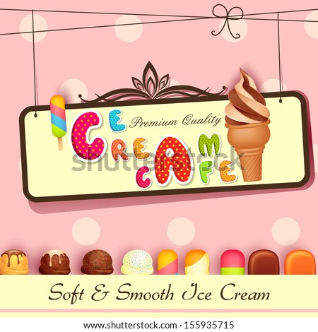 vector illustration of Ice cream Poster design - stock vector