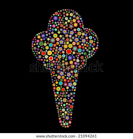 Vector illustration of ice cream shape  made up a lot of  multicolored small flowers on the black background