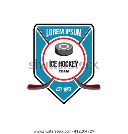 Vector illustration of ice hockey crests and logo emblem banner badge sports competition tournament designs - stock vector