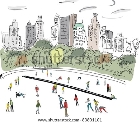 Vector illustration of ice skaters in Central Park, Manhattan, New York - stock vector