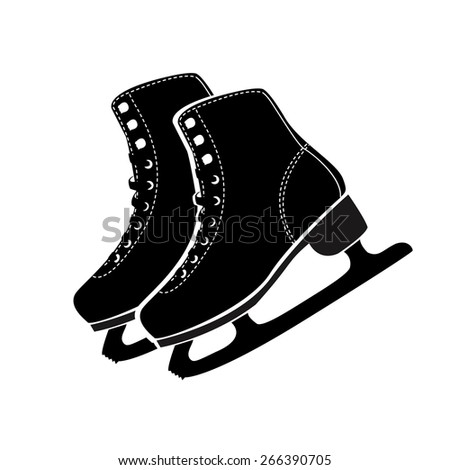 Vector illustration of ice skates  icon on white background. Black isolated icon on white background. - stock vector
